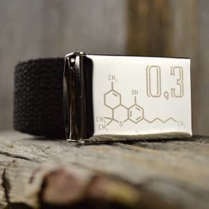 Black colored hemp webbing with buckle engraved with an image of a THC molecule