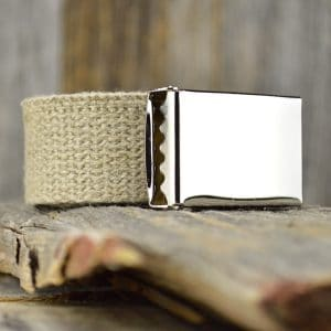 Natural colored hemp webbing belt with a non engraved buckle